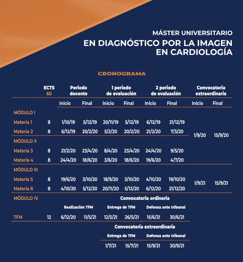 cronograma master diagnostico por imagen cardiologia