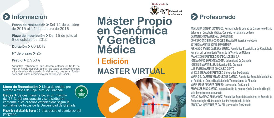 Docente en 'Máster Propio en Genómica y Genética Médica', impartido por la Universidad de Granada