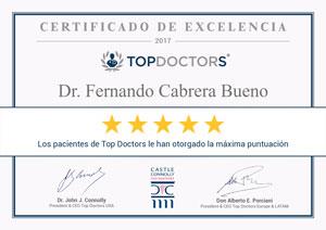 Certificado de Excelencia en Top Doctors, máxima puntuación de los pacientes